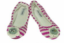 Steve Madden Womens NEW Knit Moccasin Slippers Medium (7-8) Pink/White Orig $26
