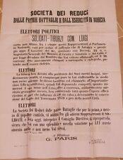 MANIFESTO ELETTORALE LUIGI SOLIDATI NORCIA 1883 TERREMOTO 1859 REDUCI ESERCITO