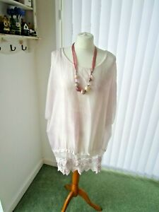 Fashion Moda  MadeinItaly silk lace top lagenlook lined white/light pink M/Uk12