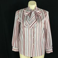 New listing Vtg 16 Xl Womens Blouse White Burgundy Pink Gray Stripe Pussy Bow Tie Long Top