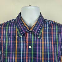 Peter Millar Weekender Finish Multi Color Check Plaid Mens Dress Button Shirt XL