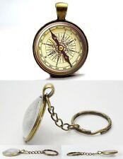 Compass - Vintage Antique Bronze Tone Photo Glass Dome Necklace Keyring