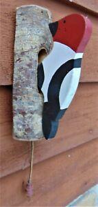 VINTAGE WOODPECKER DOOR BELL-KNOCKER ~ ORIGINAL HANDCRAFTED WOOD & HAND PAINTED