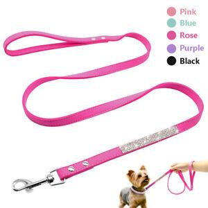 5 pcs Bling Rhinestone Dog Leash Suede Leather Small Medium Dog Cat Walking Rope