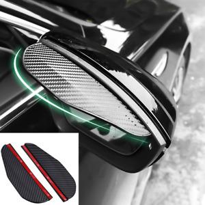 2Pcs Carbon Fiber Look Black Rain Visor Guard For Car Side Rear Mirror 185x60mm