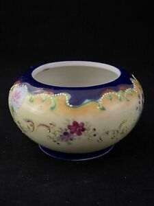 Vintage Hair Receiver Moriage w/ COBALT BLUE FLORAL Hand Painted No Lid
