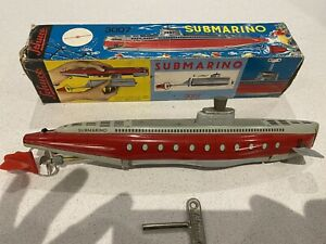 Schuco Submarino 3007 Clockwork Boat Works With Key And Box