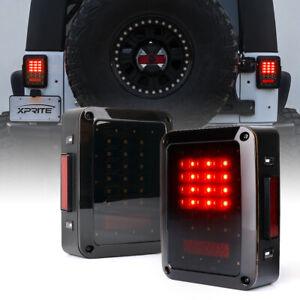 LED Tail Lights Running/Brake/Reverse Smoked Lens for 07-18 Jeep Wrangler JK JKU