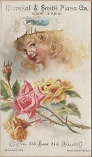 Victorian Bifold Trade Card-Marchal & Smith Piano Co-NYC-Engraved Triumph Organ