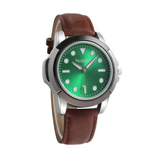 Noblag Luxury Sports Men's Watches Green Dial Brown Leather Strap 50mm