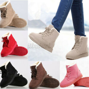 Women Snow Ankle Boots Thickened Warm Fur Casual Suede Lace-up Shoes Winter