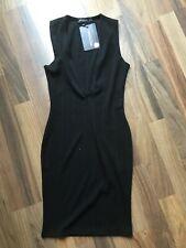 Le ragazze PLT breve vestito bodycon senza maniche a costine nero taglia UK 6 BNWT