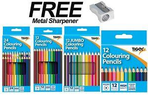 Tiger Coloured Pencils Pack School Stationery Children Art Craft Set