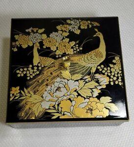 Vintage Antique Japanese Black /Gold Lacquerware Peacock Trinket/Jewelry Box