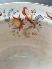 Wade Serving Bowl Antique Vintage 23cm Diam Lots Of Crazing yellow & Red Leaves