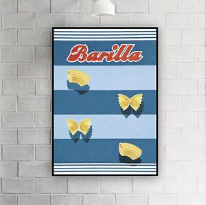 Vintage Italian Barilla Macaroni Pasta Advertising Poster Print / Wall Decor