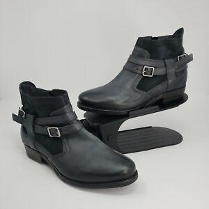 New Miz Mooz Womens Daryn Leather Buckle Ankle Boots Ocean Gray EU 37 US 6.5-7
