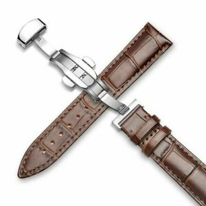 Genuine Leather 12MM-24MM Watch Band Strap Kit Butterfly Buckle Deployment Clasp