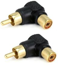 2x RCA right angle connector plug adapters M/F male to female 90 degree elbow