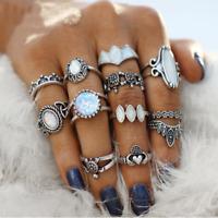 Ethnic Gothic 12PCS Tibetan Opal Stone Flower Tortoise Rings Set Vintage Jewelry