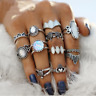 12pcs Vintage Silver/Gold Boho Stack Opal Above Knuckle Ring Midi Finger Rings