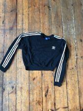 Black Cropped ADIDAS Sweatshirt Jumper uk 10
