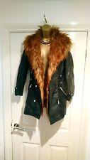 River Island Sexy Black Faux Leather & Fur Parka Jacket Coat 6