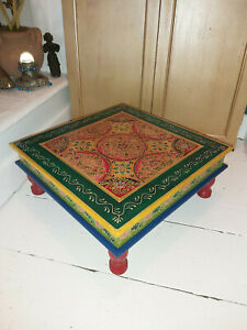 HAND PAINTED WOODEN BAJOT TABLE IN A LIME/PINK & FLORAL DESIGN FROM INDIA