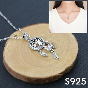 Ladies Feather Tree of Life Dream Catcher S925 Sterling Silver Jewelry Necklace