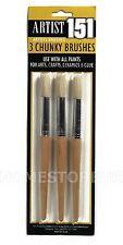 3 PCS ARTIST CHUNKY PAINT BRUSHES SET ROUND TIP BRUSH SCHOOL KID ART CRAFT KC537