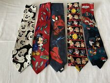 LOT OF Mens TIES MIX Designer Brands Disney Micky Mouse Spider Man Kelloggs