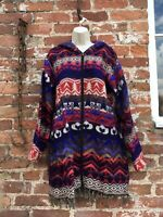 Ladies long cashmilon hooded jacket pixie/hippie/festival/boho 10-14