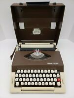 Royal Safari Typewriter - Tan/Brown - Portugal - Vintage- With Shell/Case Handle