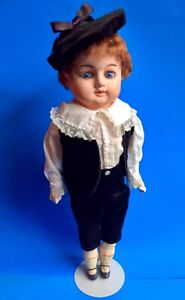 "Antique French 21"" Papier-mâché Boy Doll  Blue Set Glass Eyes  Late 1800's"