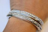 Lot 2  Brighton Sacred Cross Silver & Crystal Hinged Bangle Bracelet