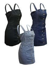 Plus Size Ladies Strappy Button Dungaree Front Pocket Denim Pinafore Dress 14-28