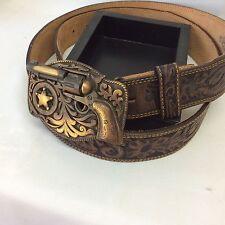 "Vintage style Leather Belt & Pistol Buckle Justin Western Cowboy Gun Rodeo  44"""