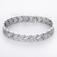 Men's Punk Silver Stainless Steel Rubber Bracelet Chain Wristband Cuff Bangle