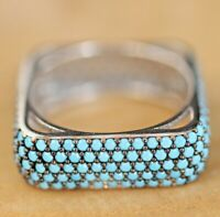 925 Sterling Silver Handmade Authentic Turkish Turquoise Ladies Ring Size 8