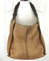 Lucky Brand Large Tan Leather Hobo Boho Shopper Tote Purse Shoulder Bag
