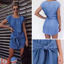 Women Bandage Summer Party Cocktail Sleeveless Short Mini Denim Dress USA #XL