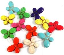 25x35mm Rainbow Colorful Turquoise Butterfly Beads (12)