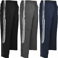 Mens 3 Stripe Trousers Zip Pockets Jogging Sport Gym Tracksuit Bottoms S-XXL