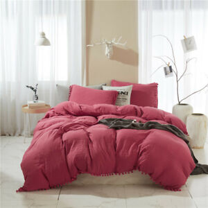 Three-Piece Suit Simplicity Four Seasons Solid Color Water Wash Ball Duvet Cover