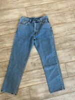 Faconnable women's size 36 blue jeans relaxed fit pockets 100% cotton Made Macau