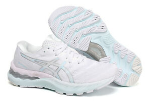 HOT Women's ASICS cushioning breathable running shoes GEL-NIMBUS 23 pink blue