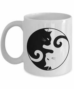 Ying Yang Cat Mug Funny Tea Hot Cocoa Coffee Cup Novelty Birthday Christmas Gag