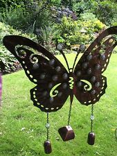 Wind chime large butterfly wall art glow dark gems rustic metal sun garden porch