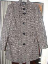 COLLECTION DEBENHAMS Black/White Wool Mix Belted Short Coat Size 14