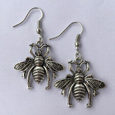 Cute New Tibetan Silver Charlotte Hugo Hornet Charm Dangle Drop Earrings
